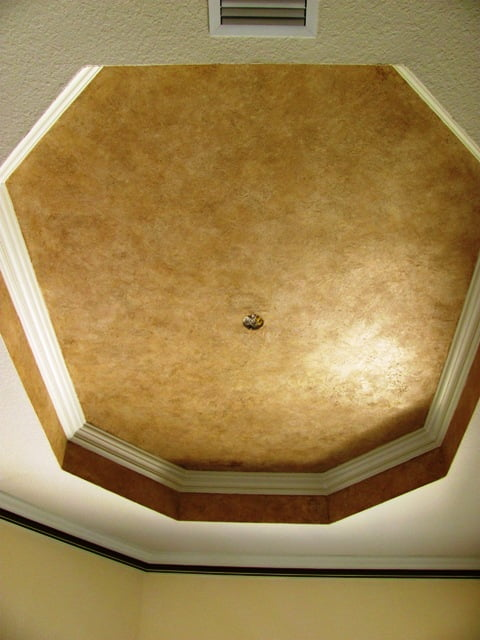 Textured Plaster Ceiling Faux Effects O'Villa Sabina over glazed and waxed
