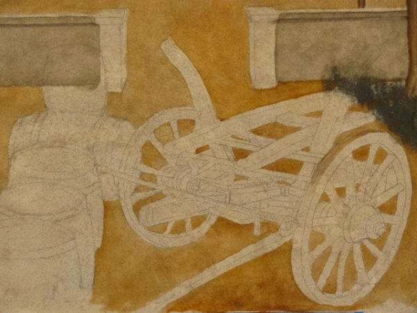 detail of wine wagon drawing