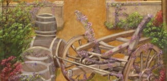 Bougainvillea, wine barrels, wine wagon, wine room mural
