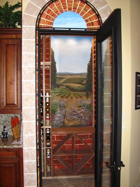 faux brick, wine room mural, faux iron, trompe loeil