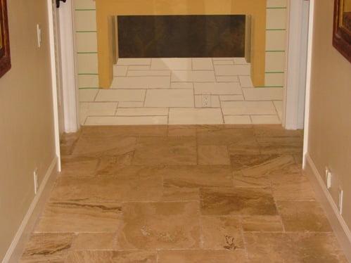 Faux finish tile, trompe loeil tile floor,