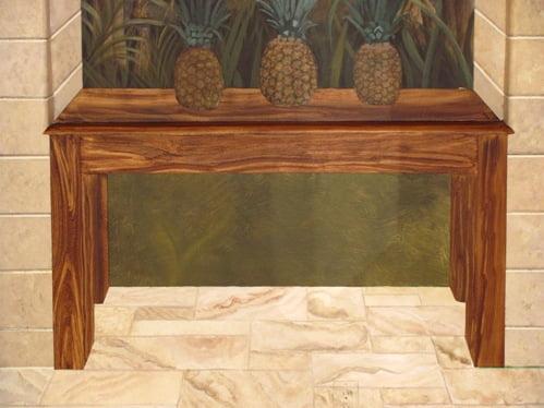 Faux wood grain, Trompe loeil table, murals by Arthur Morehead