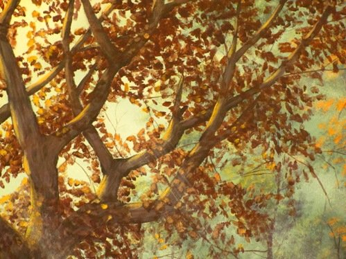 Acrylic painting tree detail, Naples Fl murals by artist Arthur Morehead