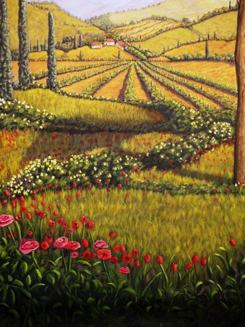 Tuscan landscape mural progress painting