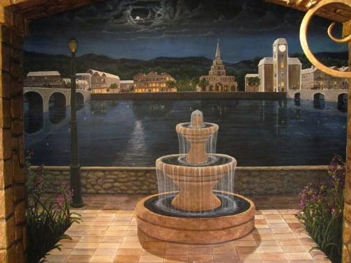 The Fountain night time fine art murals, faux finishing, Naples Fl decorative artist Arthur Morehead