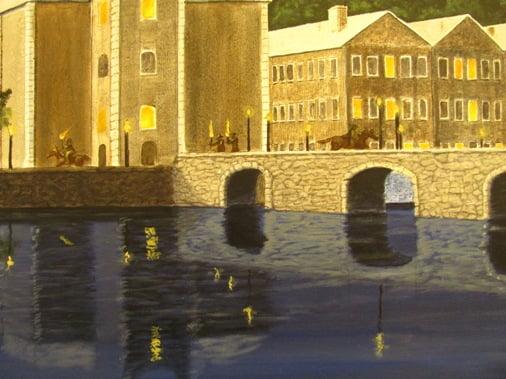 fine art mural detail blocking in acrylic on canvas Naples Fl artist Arthur Morehead