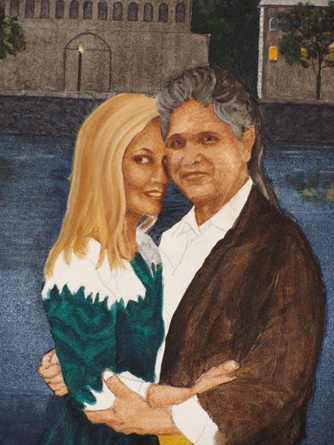 Blocking In fine art portrait acrylic on canvas