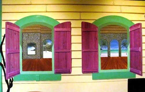 Mural in Marco Island Trompe loeil Caribbean hut by artist Arthur Morehead