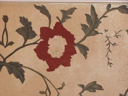 Floral Wall Art Mural (progress) by Naples Fl artist Arthur Morehead