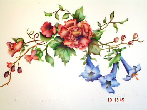 Floral airbrush stencil Art-Faux Designs
