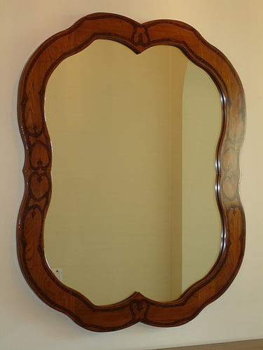 Custom Mirror Frame faux walnut inlay
