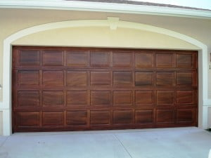 Faux wood graining garage door