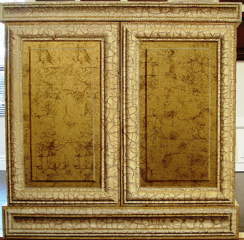 Distressed faux cabinets