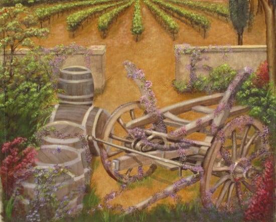 Bougainvillea, wine barrels, wine wagon, wine room mural
