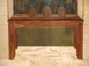 Faux wood grain, Trompe loeil table, murals by Arthur Morehead