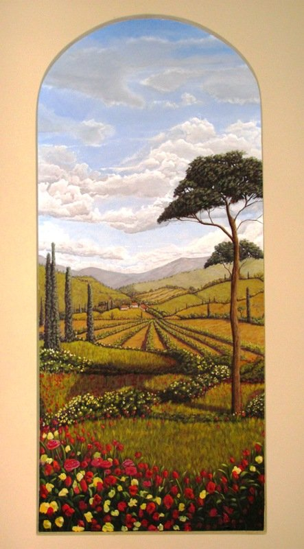 Landscape painting and mural on canvas, custom designed original by artist Arthur Morehead Naples Fl