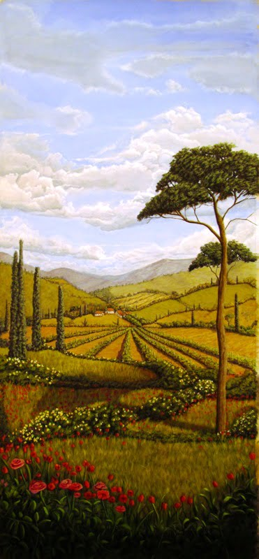 landscape painting Tuscan mural by muralist/artist Arthur Morehead Naples Fl