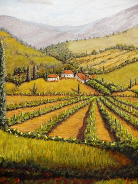 Tuscan Landscape painting close up of vineyards by artist Arthur Morehead of Naples Fl