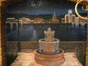 Fine Art Murals by Naples Fl artist Arthur Morehead Nighttime Fountain