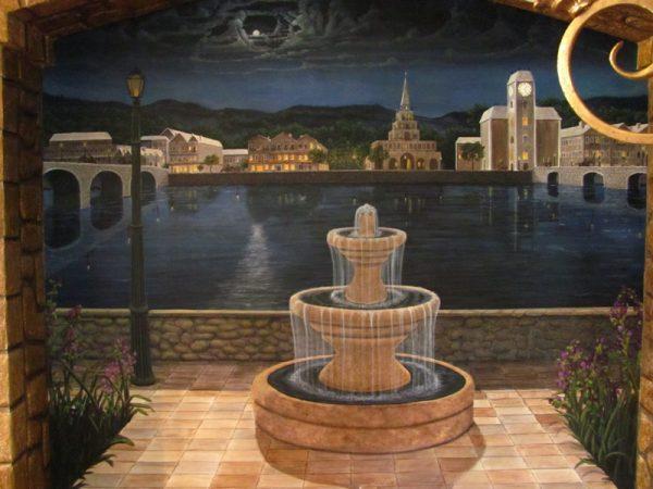 Fine Art Murals by Naples Fl artist Arthur Morehead Nighttime Fountain