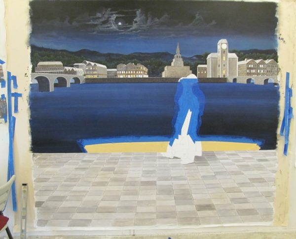 night time fine art mural Naples artist Arthur Morehead