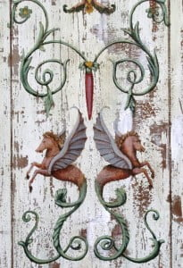 Grotesque ornamental painting on Distressed faux wood panel
