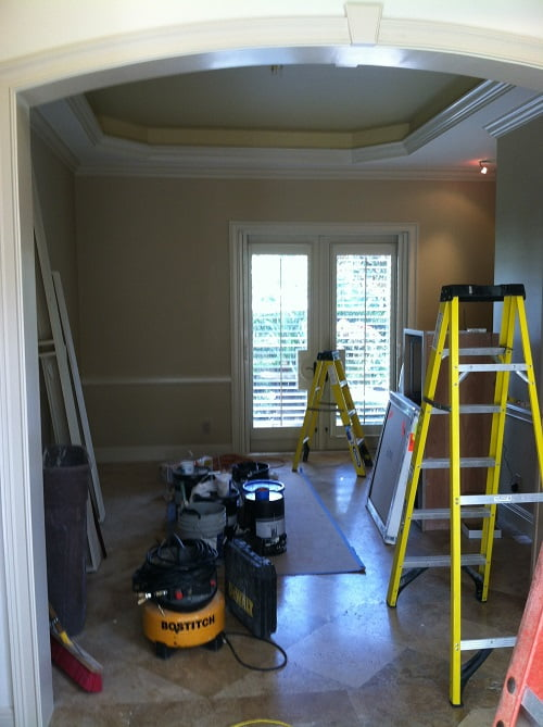 Faux Finishing Dining Room Before Naples Fl Art-Faux Designs Inc 239 417 1888