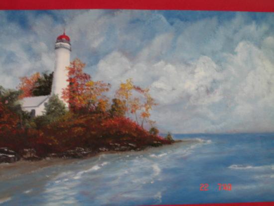 Lighthouse oil on canvas Art Morehead